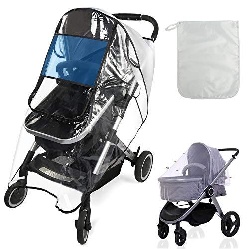 BelleStyle Universal Regenschutz für Kinderwagen, Wasserdicht Winddicht transparent Buggy Sportwagen Regenschutz mit Mückennetz für Kinderwagen und Aufbewahrung Taschen