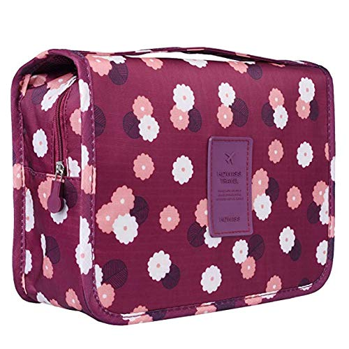 BryTravel Travel Toiletry Bags, Portable Hanging Makeup Bags, Waterproof Cosmetic Organiser Bag Hook Shower Bag for Travel, Cosmetics, Personal (Wine Flower)