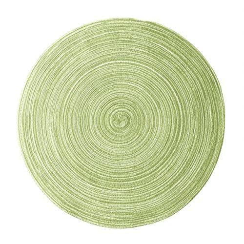 SEOLQX Alfombrilla de mesa redonda de hilo de algodón, resistente al agua, antideslizante, para tazón, posavasos de bebidas, accesorios de cocina, color verde, 30 cm, redondo