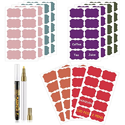 HONZUEN Etiquetas de Pizarra de Reutilizable en Colores, 120 Pcs Extraíble Impermeable Pegatina de Pizarra con 2 Rotuladores de Tiza para Decorar Tarros, Despensa, Cocina, Hogar y Oficina