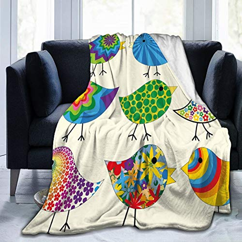 Flannel Blanket Lightweight Super Soft ,Abstract Patterned Funky Birds Colorful Designs Flowers Dots Lines Circles Animal Fun,Blanket With Soft Anti-pilling Flannel For Adults & Kids 3D Print 80'x60'