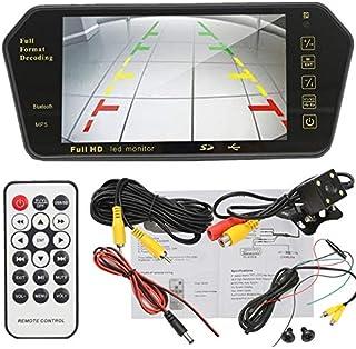 Car Monitors - 7'' TFT LCD MP5 bluetooth Car Rear View Parking Mirror Monitor+Reversing Car Camera Wireless RCA View Video...