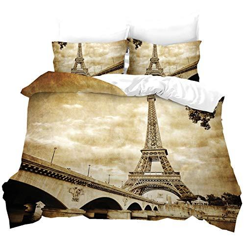 Torre Eiffel Juego de Cama Tema Romántico de París Fundas Nórdicas y Fundas de Almohada Estilo Urbano Juego de Cama Juego de 3 Piezas para Cama 90/135/150/180 (Color 2, 220 × 240 cm)