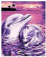 数字で描くキットキッズユニークな誕生日プレゼント海の風景に紫のイルカがアクリル絵の具を描く C 40X50CM(フレームなし)