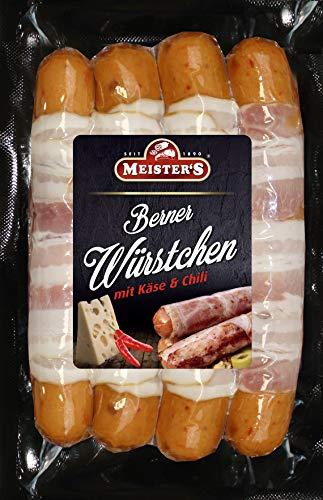Berner Würstchen mit Chili, Käse & Bacon | Käsewurst | Grillwürste | Premium BBQ Griller zum Braten und Grillen | 300g