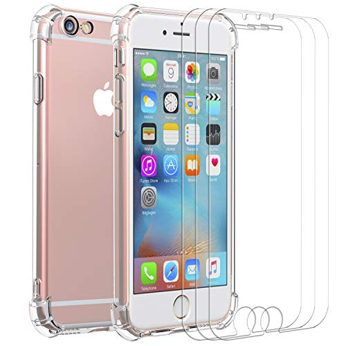 iVoler Custodia Cover per iPhone 6s Plus/iPhone 6 Plus + 3 Pezzi Pellicola Vetro Temperato, Ultra Sottile Morbido TPU Trasparente Silicone Antiurto Protettiva Case per iPhone 6s Plus / 6 Plus