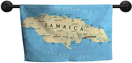 ZSUO Magical Towel W 28 x L 14(inch) Towel Swimsuit Shower,Jamaican,Map of Jamaica Kingston Caribbean Sea Important Locations in Country,Pale Blue Beige Black