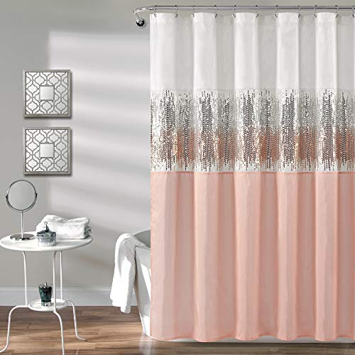 Lush Decor, White and Blush Night Sky Shower Curtain   Sequin Fabric Shimmery Color Block Design for Bathroom, x 72
