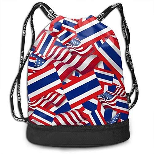 PmseK Turnbeutel Sportbeutel Kordelzug Rucksack, Sporttasche Thailand Flag with America Flag Shoulder Bags Travel Sport Gym Bag Print - Yoga Runner Daypack Shoe Bags with Zipper and Pockets
