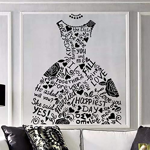 Dalxsh Fashion Muursticker Bruidsjurk Bruids Winkel Muursticker Huwelijk Stijl Muur Art muurschildering raamdecoratie Thuis Slaapkamer Decor 42X52Cm