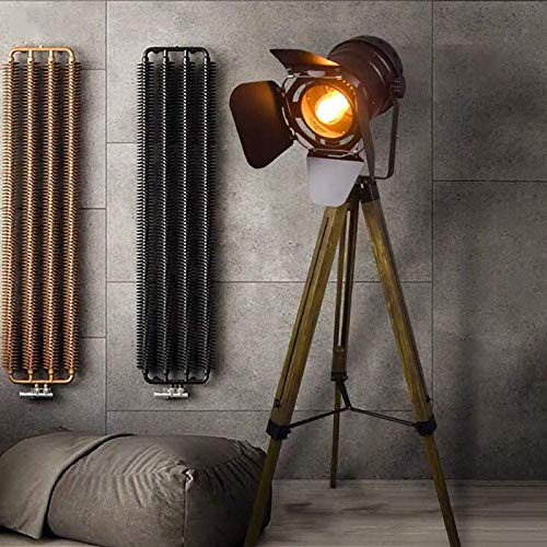 Wooden Nautical Cinema Searchlight ,Modern Industrial Vintage Tripod Floor Table Lamp ,Floor Table Lamp,Spotlight Reading Light for Living Room and Office Movie Theatre Decoration Adjustable Height -