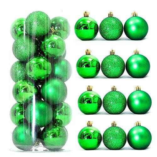 Cloudsemi 10 Stück Weihnachtskugeln Kunststoff Christbaumkugeln Weihnachten Baumschmuck glänzend glitzernd matt Weihnachten Deko Anhänger (Grün, 8cm)