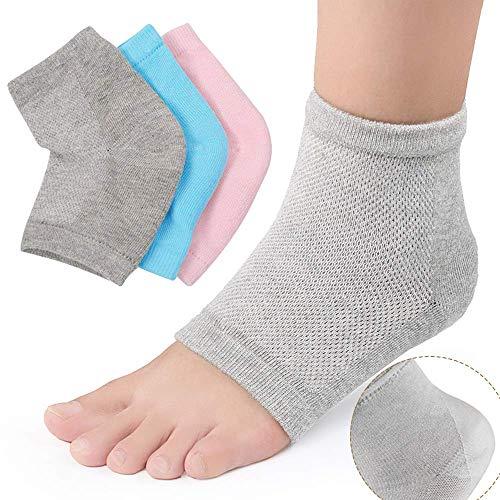 3 Paar Gel Fersen Socken Fersenschutz Fersensporn Bandage Fersen Feuchtigkeitsspendende Socken Silicone für Trockene Harte Rissige Haut Feuchtigkeitsspendende Offene Zehe Comfy Erholung Socken