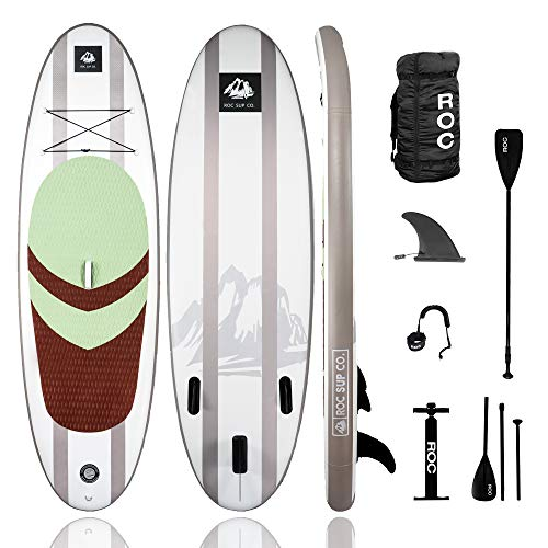 Roc Inflatable Stand Up Paddle Boards W Free Premium SUP Accessories & Backpack, Non-Slip Deck Bonus Waterproof Bag, Leash, Paddle and Hand Pump Youth & Adult (Desert)