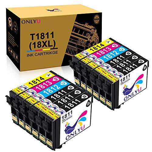 ONLYU Sostituzione cartucce d'inchiostro compatibili per Epson 18XL T1811-T1814 per Epson Expression Home XP-202 XP-205 XP-215 XP-225 XP-302 XP-305 XP-315 XP-325 XP-402 XP-405 (confezione da 12)