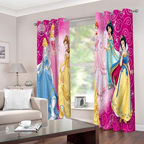 Baryy Disney Princess 3D Impresión, Cortinas Opacas 232x182cm, Poliéster, Lavable en la Lavadora, 2 Piezas Cortinas de Aislamiento Térmico para Sala de Estar y Dormitorio