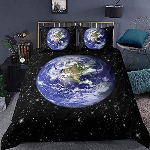 RONGXIE Duvet Cover Single - Washed Microfiber Bed Cover With Zipper Closure & Corner Ties, Breathable Soft Hypoallergenic 3 Piece Duvet Covers Set- Landscape Beautiful Galaxy Outer Space Planet - S