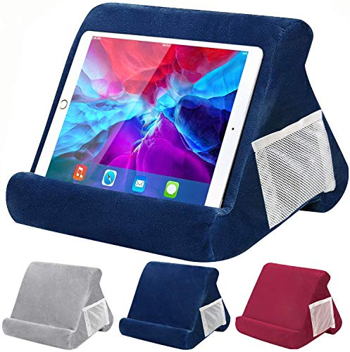 Tablet Pillow Stand, Pillow Soft Pad for Lap - FANIER Multi-Angle Cushion for Tablets, Soft Pillow for Tablets, Smart Phones, Digital Book Readers, Books and Magazines (Blue)