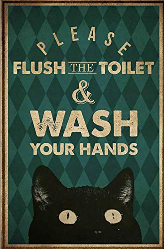 Tin Sign Please Flush The Toilet and Wash Your Hand Poster Street Garage Family Cafe Bar Farm Bathroom Door Wall Decoration Retro Plaque 12x16 Inch Best Gift