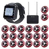 Retekess T128-T117 Sistema de Pager Inalámbrico, Sistema de Llamadas a Restaurantes con Amplificador de Señal, 1 Reloj y 20 Botones de Llamada para Restaurantes, Hospitales y Bares