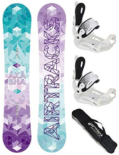 AIRTRACKS Snowboard Set - Tabla Akasha Mujer 147 - Fijaciones Master FASTEC W M - Bag/Nuevo