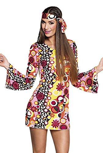 Boland 83867 - Erwachsenenkostüm Groovy Girl, Kleid mit Stirnband, Größe M, Hippie, Flower Power, Blumenmädchen, 60er Jahre, Motto Party, Karneval