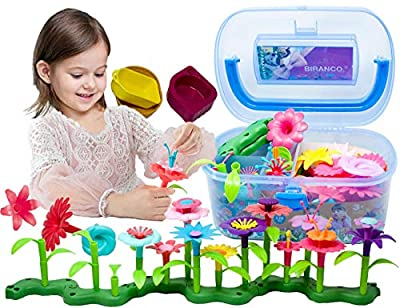 BIRANCO. Flower Garden Building Toys - Build a Bouquet Floral Arrangement Playset for Toddlers and Kids Age 3, 4, 5, 6 Year Old Girls Pretend Gardening Gifts (120 PCS)