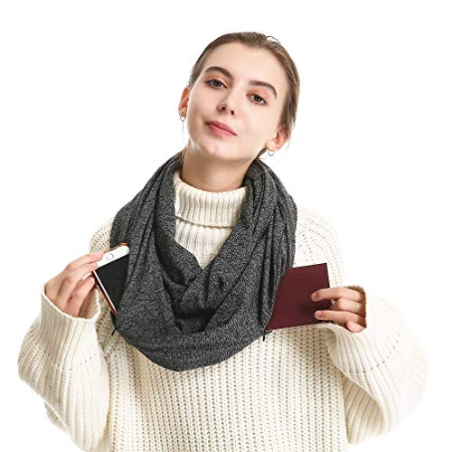 Infinity Scarf With Zipper Pocket - Soft Stretchy Circle Loop Travel Scarves With Secret Hidden Pocket For Women Girls Men Great Gift Idea 12 Black