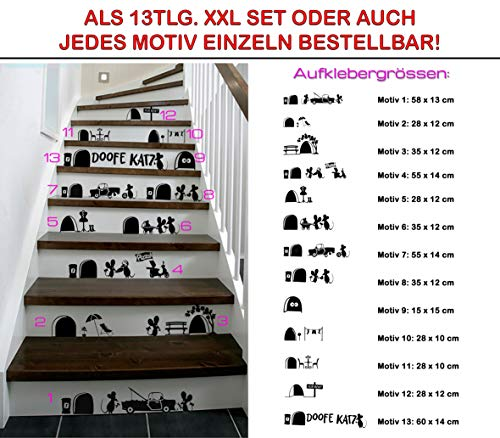 Treppen/Wand/Sockel Tattoo Verschiedene Lustige Motive Mit Mäusen