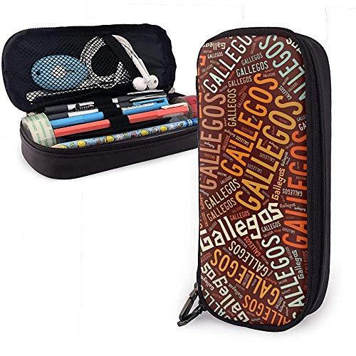 Gallegos - Apellido americano Estuche de cuero de alta capacidad Estuche para lápices Organizador de papelería Organizador Marcador de oficina Estuche Bolígrafo de viaje Bolsa de transporte