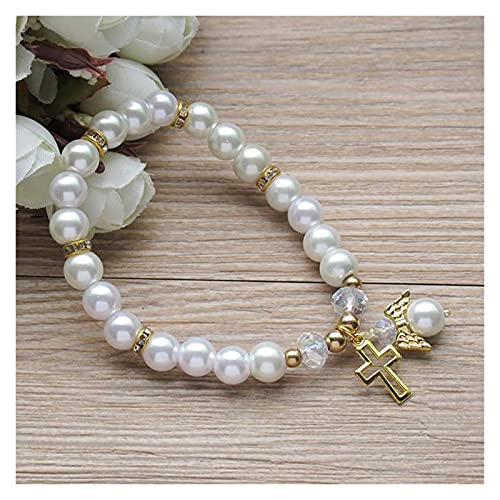 Joyas Otra Pulsera de ángel de Perla Rosa Boda Pulsera de Moda AMINÍ (Color : White)