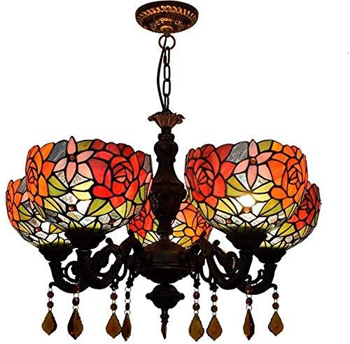 Lámpara de cristal manchado Tiffany Vida de la lámpara de techo Sala de 24 pulgadas Tiffany 5 Lámparas de las rosas rojas de cristal de la lámpara pendiente Restaurante Cafetería Bar de la sala luz co