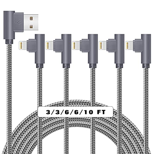 MFi Certified iPhone Charger, 90 Degree 5Pack (3/3/6/6/10ft) Lightning Cable, Right Angled Nylon Braided iPhone Charging Syncing Cord for iPad/iPhone 12/11/11Pro/11Max/ X/XS/XR/XS Max/8/7