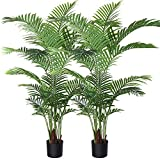 Fopamtri Artificial Areca Palm Plant 5.2 Feet Fake Palm Tree with 17 Trunks Faux Tree for Indoor Outdoor Modern Decoration Feaux Dypsis Lutescens Plants in Pot for Home Office,2 Pack