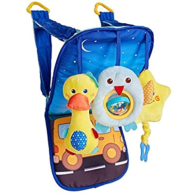 Baby Car Seat Toys - Infant Soft Toys 0 to 12 Months for Car Seat - Rear-Facing Car Seat Travel Activity Mat for Baby - Includes Rattle, Squeaky and Rustle Sensory Toys with Teether