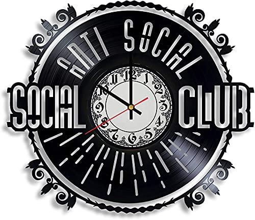 Anti Social Club Social Vinilo Record Retro Reloj de Pared Cumpleaños Año Nuevo Navidad Regalo de cumpleaños Personalidad creativa hogar diseño decoración de pared