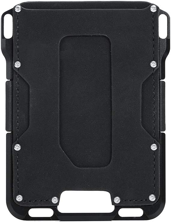 H&J RFID Blocking Aluminium Card Tactical Wallet for Mens ID Bank Card Case Vintage Genuine Leather Slim Metal Wallets Credit Card Holder,Black