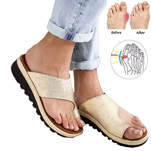 Bequeme Plateau-Sandalen, modische Sandalen, orthopädische Sandalen, Clip-Toe, flache Pantoletten, goldfarben, 50