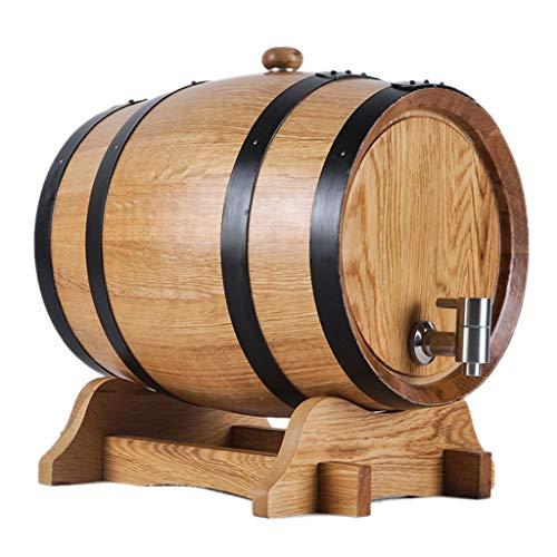 Yimihua Barril de Vino Barril de Roble Puro, Dispensador de Barril de Vino Sin Revestimiento de Barra 3L para Almacenar Vino Agave Whisky (Color : 304 Steel Plug, Size : 3L)