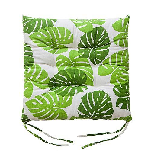 YUANYOU Juego de 4 cojines cuadrados de algodón con lazos, diseño de hojas, antideslizantes, para sillas de comedor, cojines suaves