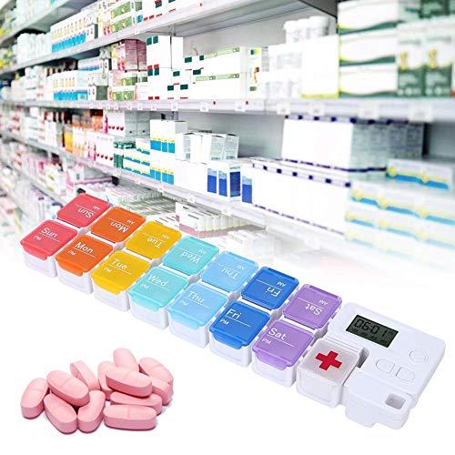 Portable 14 Grids Compartments Afneembaar Vochtbestendig 7 Dagen Wekelijkse Pillendoos Medicijnorganizer met Alarm (7-Kleuren)