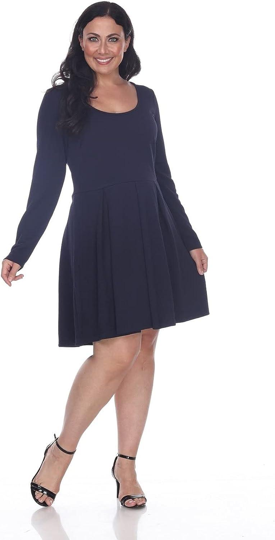 white mark Women's Jenara Dress Above The Knee Long Sleeve