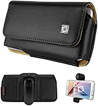 Alcatel OneTouch Pixi Glitz (Tracfone) Cellet Horizontal Noble Premium Leather Case with 2 Removable Belt Clips (Fixed & Swivel) and Magnetic Flap , FREE CAR VENT HOLDER INCLUDED!