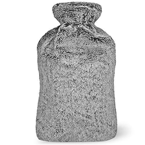 Botella de Agua Caliente Premium, 2L- con Ultra Suave Felpa Funda - No hay fugas, Hecho con Tela de Calidad y Caucho - Hot Water Bottle Perfecto para Noches Frías de Invierno