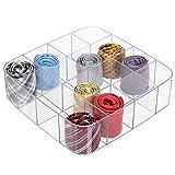mDesign Caja organizadora con 16 compartimentos – Práctico organizador de plástico sin BPA para los armarios del dormitorio – Fantástica caja para ropa y accesorios – transparente
