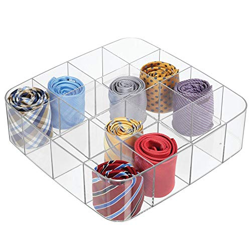 mDesign Plastic Closet Accessory Drawer Organizer for Dresser Closet Bedroom Bathroom Entryway Office  Store Belts Ties Socks Watches  16 Sections Clear