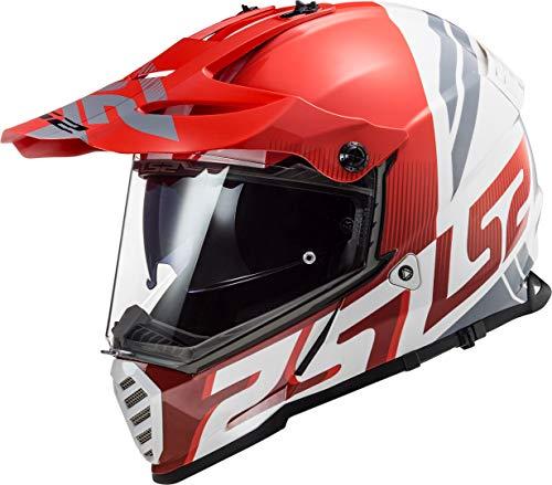 LS2 MX436 Pioneer Evo Evolve Casco Motocross Rosso/Bianco