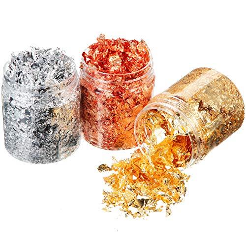 3 Botellas Copos de Lámina de Oro Copos de Pan de Aluminio de Imitación Copos de Hojas Metálicos para Uñas, Pintar, Arte, Manualidad, Decoración Hacer Joya Resina, 3 Colores (3 Gramos/ Botella