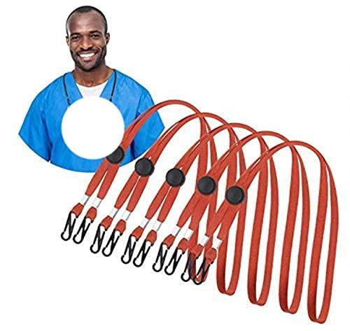 Cordón ajustable para niños adultos Correa de sujeción de cadena práctica y colorida con clips Correa de cuerda para colgar al aire libre para el cuello-5 piezas-rojo