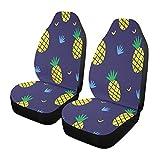 Qilmy 1 paquete de fundas de asiento delantero antideslizante para automóviles, asientos de cubo, para decoración universal, furgoneta, camioneta, SUV, linda piña
